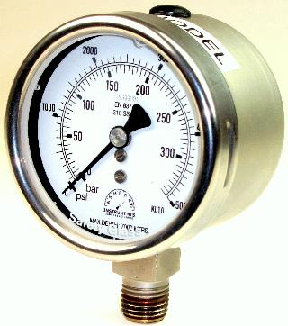 Compensated Subsea Pressure Gauge - 63mm Bottom Entry Stainless Steel Case