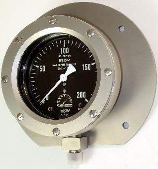 Subsea  Pressure Gauge - 100mm Premium Subsea 900m Depth