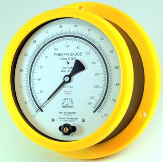 Surface Mount Plastic Case Pneumo Depth Gauge - Red, Yellow & Green Bezels