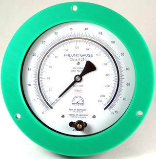 Panel Mount Plastic Case Pneumo Depth Gauge - Red, Yellow & Green Bezels